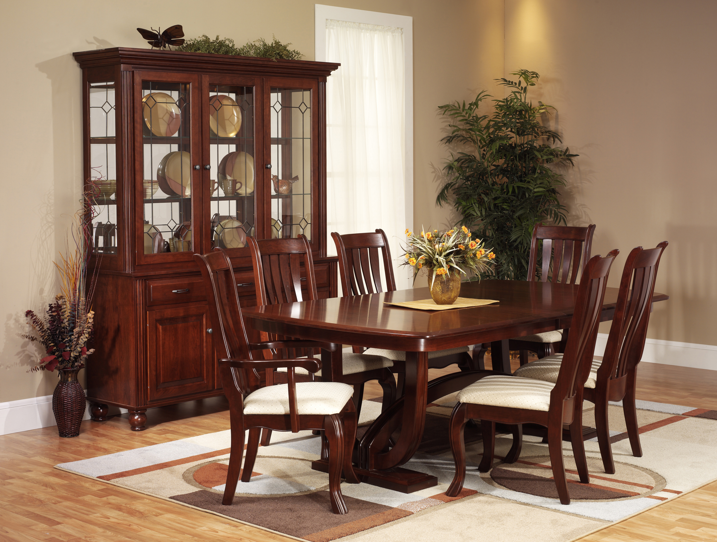 The amish gallery dining room for Cherry wood dining room set